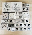 Stampin Up Lot Of 28 Rubber Stamps Floral Hearts Beach