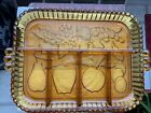 Indiana Glass Amber Divided Fruit Platter Relish Tray Dish Vintage.