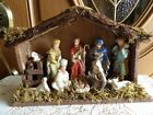 Nativity Set Coyne 10 Glazed Porcelain Figures Hand Crafted Wooden Stable orig b