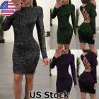 Womens Sexy Glitter Long Sleeve Backless Bodycon Party Evening Club Mini Dress