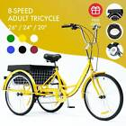 26 24 20 Adult Tricycle Trike with Large Size Basket for Shopping  Outing