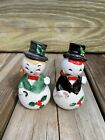 Vintage Ceramic Christmas Snowman Couple Salt And Pepper Shakers Japan