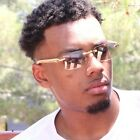 Mens CLASSIC VINTAGE RETRO Style SUN GLASSES Gold Frame Clear Lens Mirror Tint