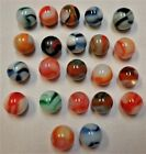 22 Vintage Peltier Rainbo Marbles ... Very Good Condition ... Great Variety