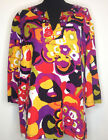 Ruby Rd Woman Red Gold Purple Black Geometric Blouse Size 20W