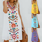 Womens Boho Summer Beach Short Mini T-Shirt Dress Sundress Tunic Tank Top Kaftan