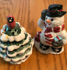 Snowman and Outdoor Christmas Tree Large 4 Tall Salt Pepper Shakers Ceramic NIB
