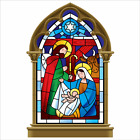 Stained Glass Nativity Scene Christmas Window Cling Large