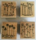Stampin Up SIMPLE SOMETHINGS Set of 4 Wood Mounted Rubber Stamps