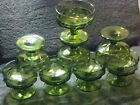 MINT SET OF 8 1970'S INDIANA AVOCADO GREEN KINGS CROWN 3-1/8'' DESSERT GOBLETS