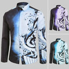 Men Casual Musical Note Pattern Long Sleeves Printed Shirt Top Blouse Hot US