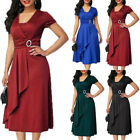 Women Short Sleeve Ruffles Midi Dress Ladies Formal Evening Party Office Dresses