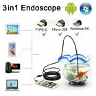 3 in 1 USB Type C Endoscope 55mm Inspection HD Camera For Android PC Borescope