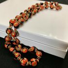 Vtg Murano Millefiori Venetian Glass Bead Necklace Hand Knotted Italy 16 Red