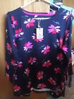Joules Womens Floral Navy Red Pink Knit Top size 10