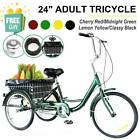 24 Adult Tricycle Trike with Large Size Basket for Shopping  Outing