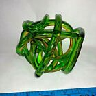 Blown Glass Art Decor Centerpiece Abstract Twisted Rope Knot Green Amber 6