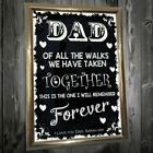 PERSONALISED DAD ON MY WEDDING DAY THIS IS THE WALK I WILL REMEMBER CHALKBOARD