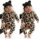 US Toddler Newborn Baby Girl Boy Leopard Romper Bodysuit Jumpsuit Outfit Clothes