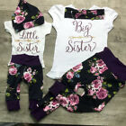USA Sister Match Big Little Sister Girl T shirt Romper Top+ Pants Outfit Clothes