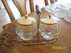 Libbey Glass Condiment Carrier Set Mid Century Modern Gold Tone