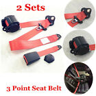 2x Red Adjustable Seat Belt Car Truck Lap Belt Universal 3 Point Safety Travel