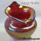 2 DIE 4 VASE TERRY CRIDER PEACOCK IRIDIZED PULLED FEATHERS JACK in PULPIT MINT