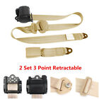 2X Beige Retractable Seat Belt 3 Point Auto Car Truck Lap Adjustable Safety Belt