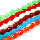10 Strds Opaque Glass Beads Faceted Drop Colorful Loose Spacers Charms 15x10mm