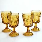 Anchor Hocking Fairfield Amber Footed Wine Glasses