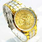 Fashion Men's Luxury Date Gold Dial Stainless Steel Analog Quartz Wrist Watch