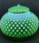 Fenton RARE Green Opalescent Hobnail Squatty Covered Jar