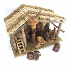 Christmas Nativity Scene Stable Manger Wood Figurines 13 Pieces Manger No Baby