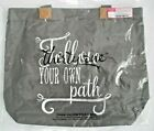 Thirty One Wander Tote Follow Your Own Path Gray Canvas Purse Shoulder Bag