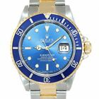 2019 SERVICED Rolex Submariner 16613 Two Tone Steel 18k Gold Blue Dial Watch