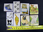 Lot of 9 Vintage Cats Kitties Foam Mounted Rubber Stamps Large  Medium