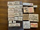 Large lot of Stampin Up Wooden Mounted Stamps scrapbooking crafts ex cond
