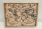 Stampendous OLD WORLD MAP Globe Travel Journey Collage Rubber Stamp