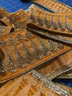 Gold Embroidered Silver Sequin Trim On Gold Orange Background Approx 3 8 Yds