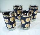 Gold Coin Libbey 10 Oz High ball Glasses Tumblers Gold Trimmed