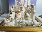 Fine Porcelain Nativity 13 Piece 14k Plated Complete Set With Glass Display Tray