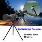 15 45x60 Spotting Scope Zoom Telescope Tripod for Hiking Bird Watching Black