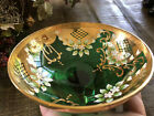 VTG BOHEMIAN CZECH GREEN GLASS GOLD AND FLORAL HAND PAINTED COMPOTE CANDY BOWL