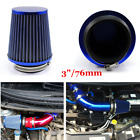 Blue 3 76mm Universal Car High Flow Inlet Pleated Cone Intake Air Filter Kit