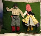 Vintage Austrian Boy Girl Native Knit Costume Cushion Handmade Pillow Cover Down