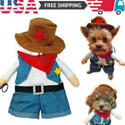 US Halloween Funny Cat Dog Cool Cowboy Costume For Christmas Costume Pet Clothes