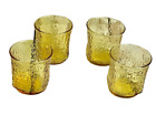 Vintage Amber Glass Rock Whiskey Glasses Set of 4 Round with Square bottom