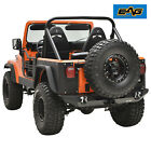 EAG Black Textured Stubby Rear Bumper with D Ring Fit 76 86 Jeep Wrangler CJ