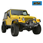EAG Front Bumper with D Ring Textured Offroad Fit 87 06 Jeep Wrangler TJ YJ