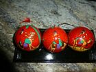 Hand Painted Nativity Wood Box With Wood Painted Ornaments Set of 3